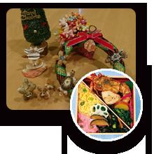 貝殻細工のクリスマスリース制作といすみ鉄道駅弁「伊勢えび弁当」食事会